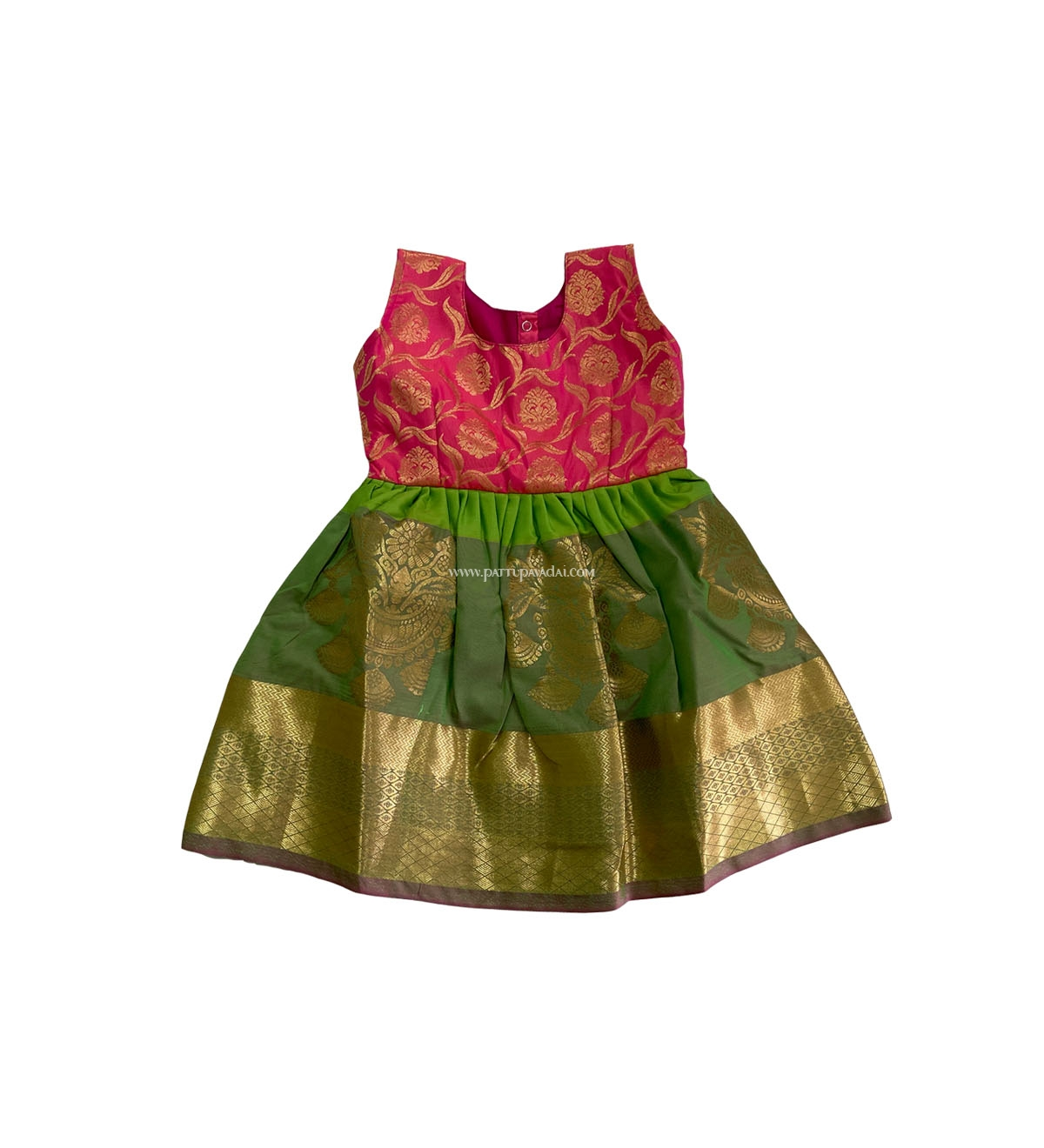 a6af2aa60b741 Shop now - Pure Silk Kids Frock Pink and Green