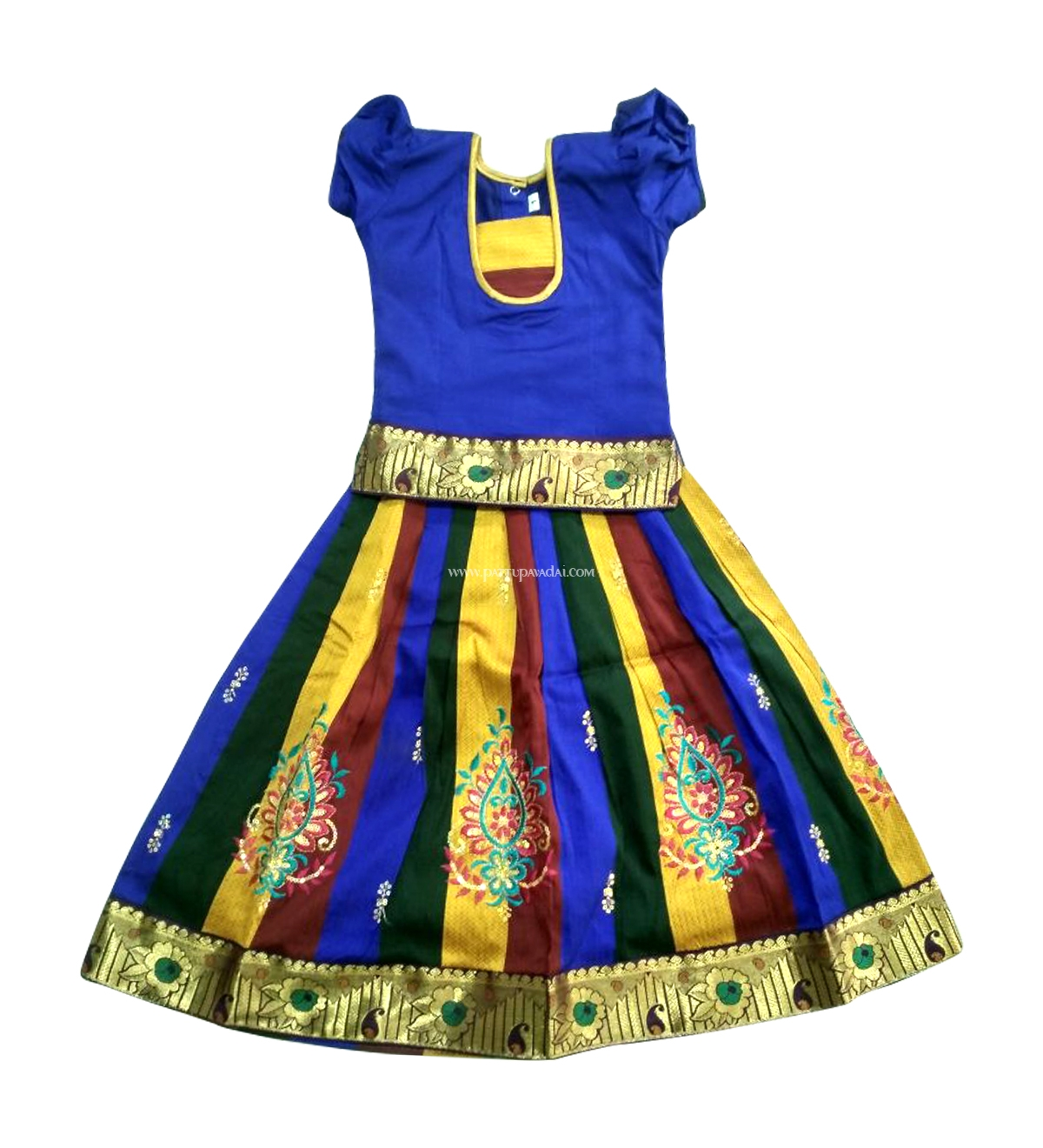 52661168a7bcc Raw silk pavadai blue top and multi coloured skirt for year baby girls  image jpg 1200x1320