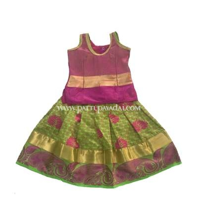 Art Silk Pavadai Green and Magenta
