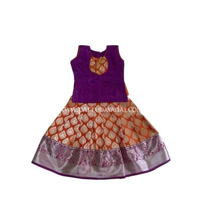 Pure Silk Pavadai Orange and Violet