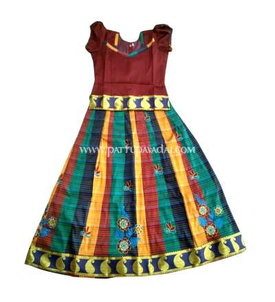 Baby Girl Silk Pavadai Brown Top and Multi-Coloured Skirt 8 Years