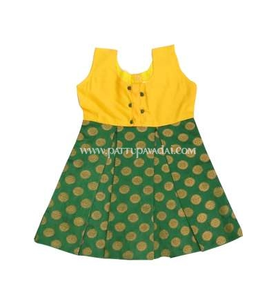 Banarasi Frock Yellow and Green