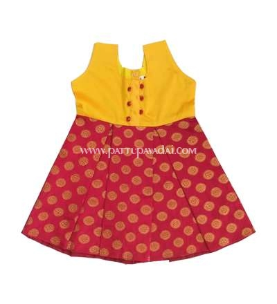 Banarasi Frock Yellow and Red