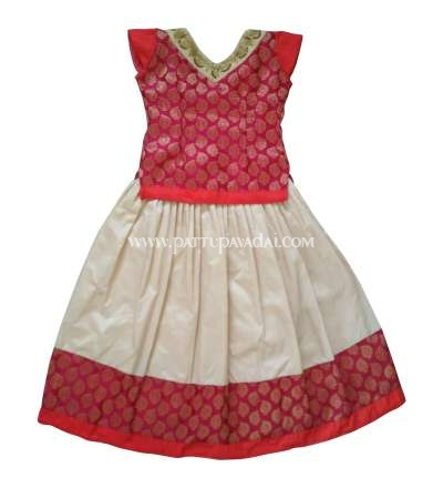 Banarasi Langa Pink and Cream available only at pattupavadai.com