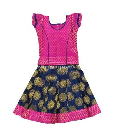 Banarasi Pavadai Sattai Navy Blue and Pink