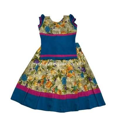 Beautiful Floral Cotton Pavadai Set Rama Blue
