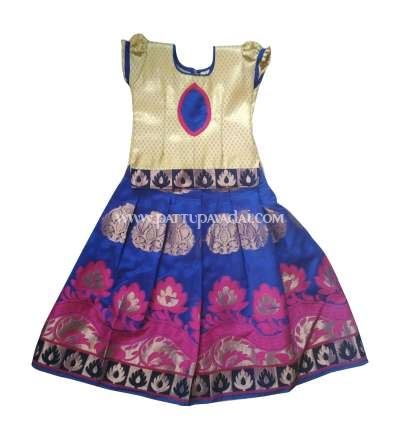 Blue and Cream Designer Chanderi Langa