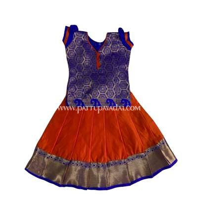 Blue and Orange Soft Silk Pavadai