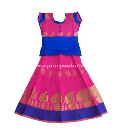 Blue and Pink Chanderi Skirt and Blouse