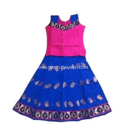 Blue and Pink Designer Chanderi Langa