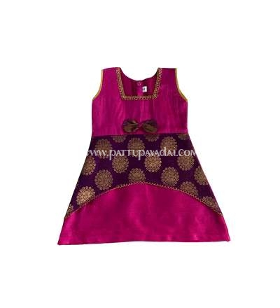 Brocade Designer Frock Pink and Violet, Available only at pattupavadai.com