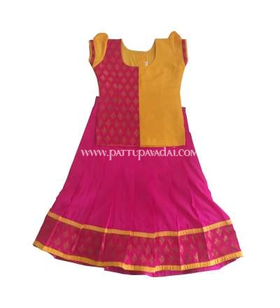 Brocade Pavadai Red and Yellow