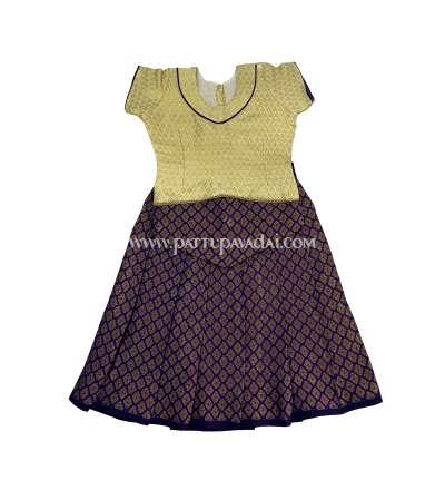 Silk Cotton Pavadai Violet and Cream
