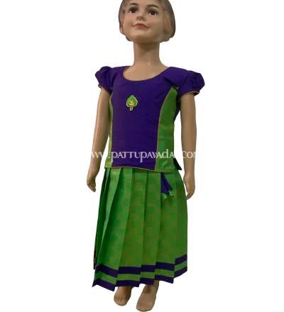 Brocade Violet Top and Parrot Green Skirt