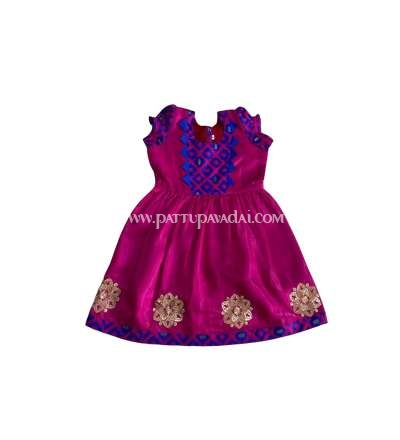 Chanderi Frock Pink and Blue