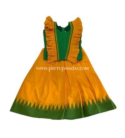Cool Cotton Yellow and Green Pavadai Sattai