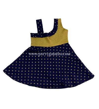 Cotton Frock Golden and Navy Blue