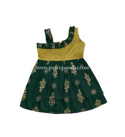 Cotton Frock Green and Golden