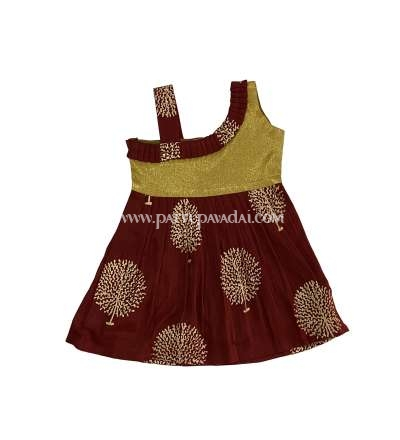 Cotton Frock Maroon and Golden