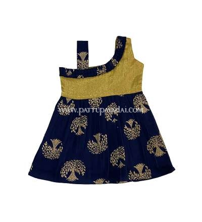 Cotton Frock Navy Blue and Golden