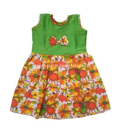 Buy Cotton Frock Orange and Green