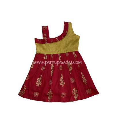 Cotton Frock Red and Golden