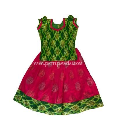 Cotton Skirt and Top Parrot Green and Pink