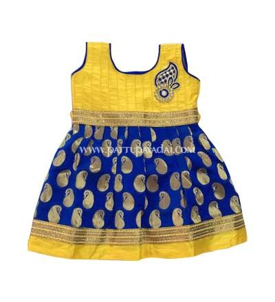 Kids Designer Frock Blue and Yellow