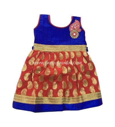 Kids Designer Frock Red and Blue