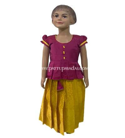 Designer Pure Silk Pavadai Yellow and Pink