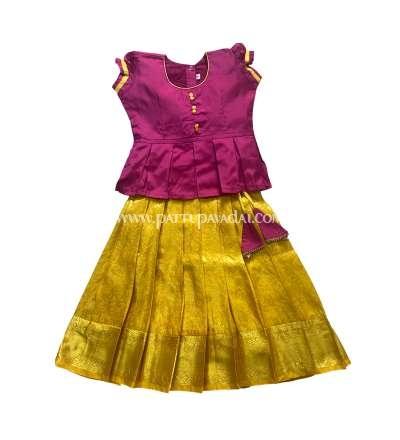 Designer Pure Silk Pavadai Yellow and Pink