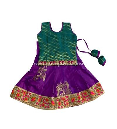 Designer Silk Pavadai Magenta and Green