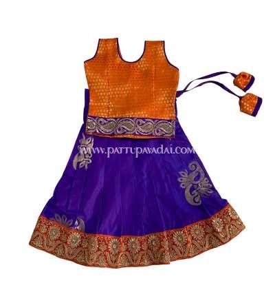 Designer Silk Pavadai Orange and Violet