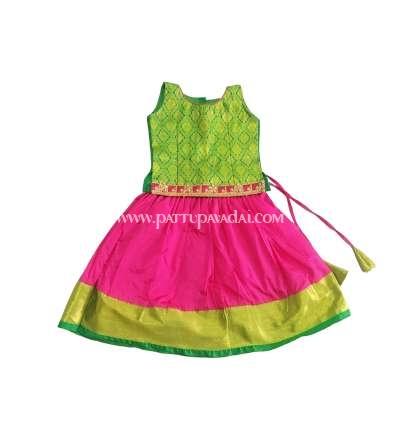 Designer Silk Pavadai Pink and Green