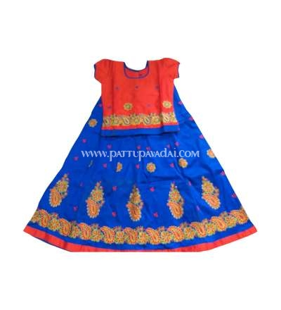 Embroidery Pavadai Orange and Blue