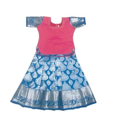 Kids Pure Silk Pavadai Blue and Pinkv
