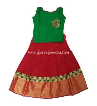 Buy Online Fancy Langa Red and Green with Embroidery