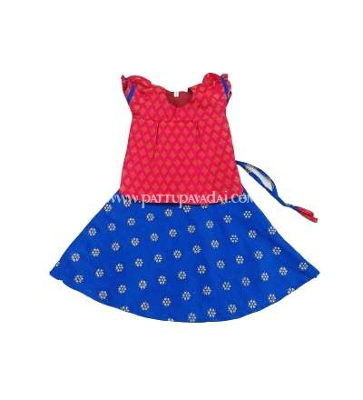 Fancy Pavadai Set for Toddlers - Red and Blue