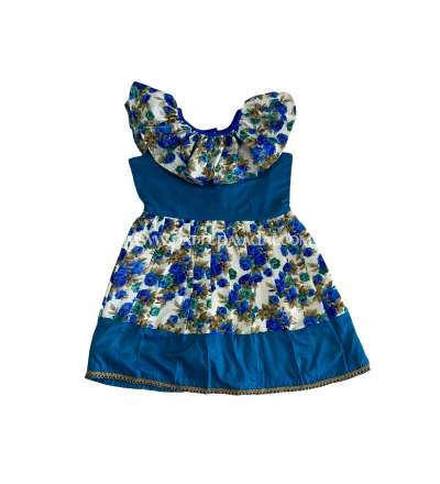 Floral Design Frock Blue and White