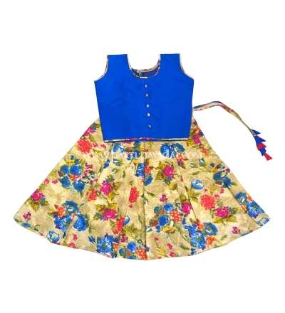 Floral Fancy Langa and Blue Crop Top