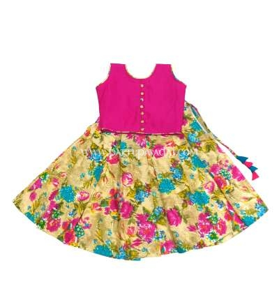 Floral Fancy Langa and Pink Crop Top