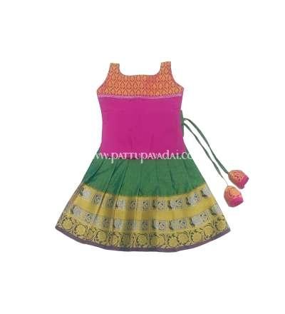 Girls Pattupavadai Green and Pink