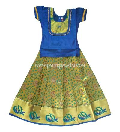 Buy Grand Blue and Golden Pure Silk Pavadai
