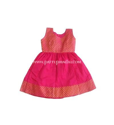 Kids Pure Silk Frock Pink and Golden