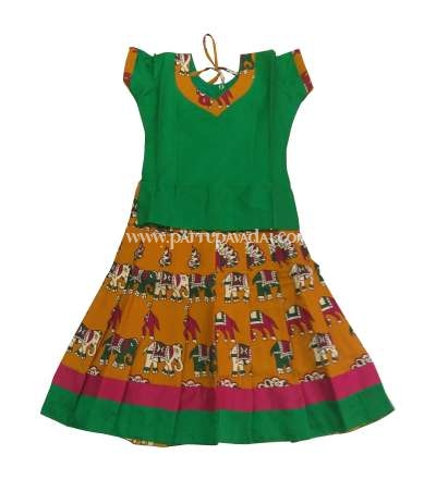 Green and Mustard Kalamkari Pavadai Set