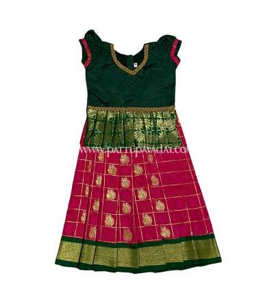 Green and Pink Soft Silk Pavadai