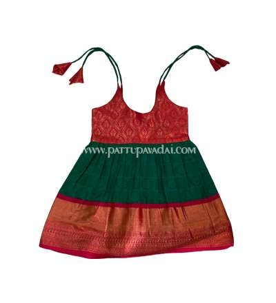 Green and Red Silk Frock