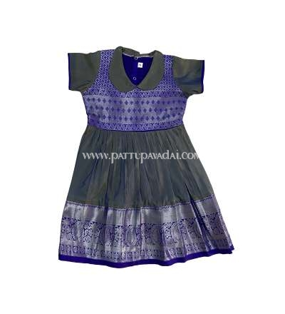 Grey and Blue Silk Frock