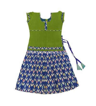 Ikkat Cotton Skirt and Top Blue and Green