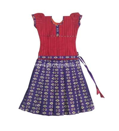 Ikkat Cotton Skirt and Top Red and Violet